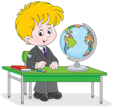 schooldays: school student sitting at the desk with a globe