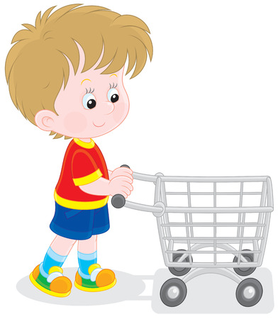super market: Boy with a shopping trolley