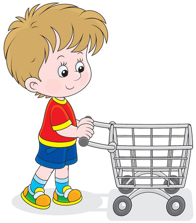 Little buyer going with a supermarket trolley Vector