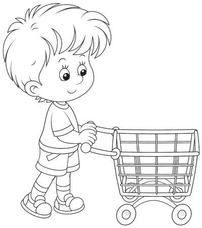 super market: Boy with a shopping trolley