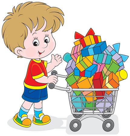 bought: Little buyer going with a supermarket trolley of gifts