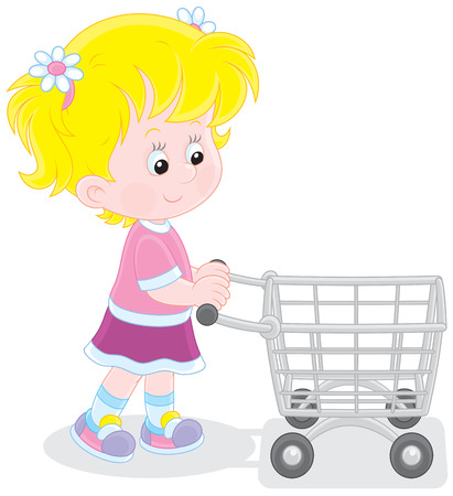 super market: Girl with a shopping trolley