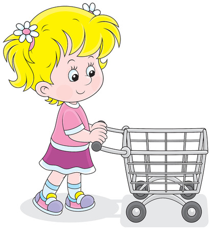 super market: Little buyer going with a supermarket trolley