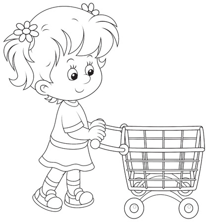 Girl with a shopping trolley Vector