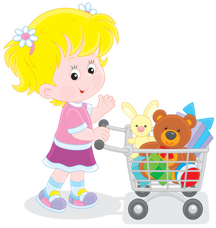 super market: Girl with a shopping trolley of toys