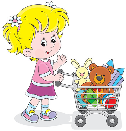 super market: Girl with a supermarket trolley filled with toys Illustration
