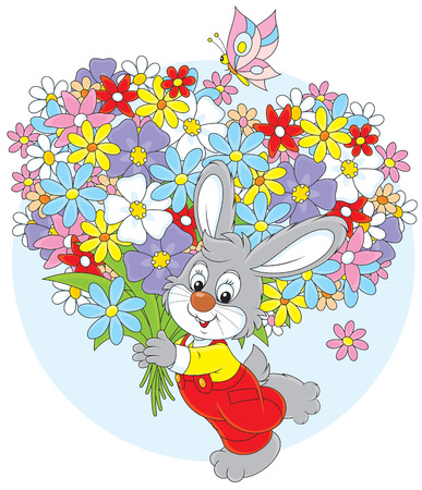 colourfully: Little rabbit with a bouquet of flowers