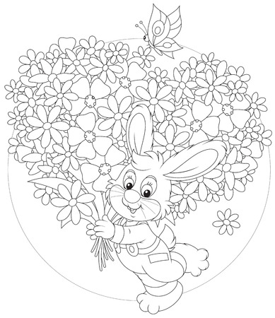 Bunny with flowers for a holiday Vector