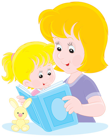 woman reading book: Mom reading a book to her little daughter Illustration