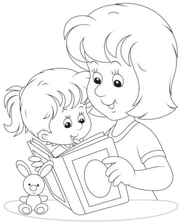 Mom reads a book to her little daughter Vector