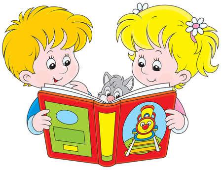 Niños leyendo con un libro - Imagui