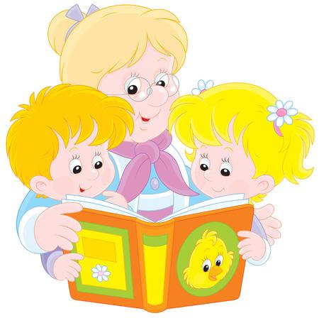 gran: Grandma and grandchildren reading