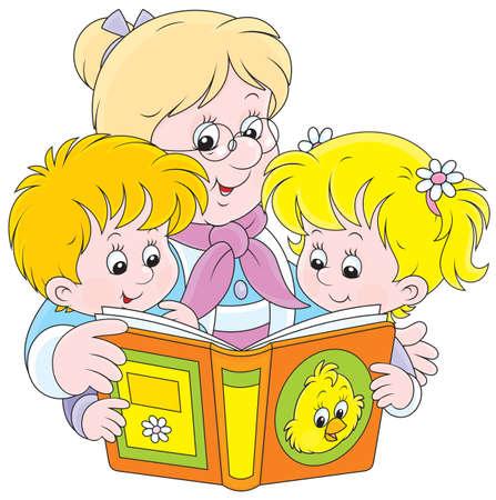 Abuela y nietos que leen un libro