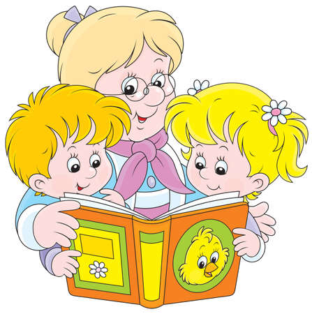 Grandma and grandchildren reading a book Vector
