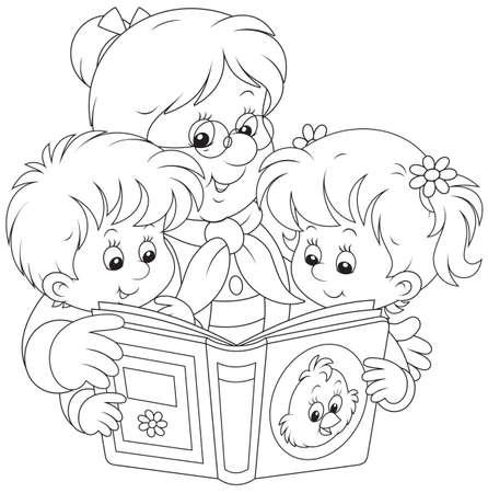 gran: Grandma and grandchildren reading  Illustration