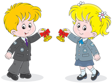 last day: Schoolgirl and schoolboy ringing the bells