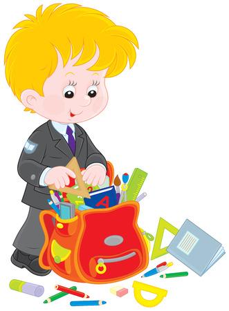 schooldays: Schoolboy completing his schoolbag