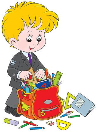 former years: Schoolboy completing his schoolbag