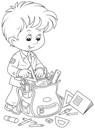 schoolbag: Schoolboy completing his schoolbag