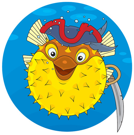 pez globo: Puffer con un sombrero de pirata y sable