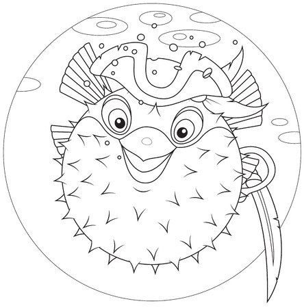 Puffer fish pirate Vector