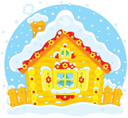 Small log hut in snow Stock Vector - 28042603