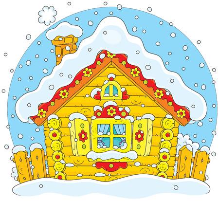 folktale: Casa de madera r�stica cubierta de nieve en Navidad Vectores