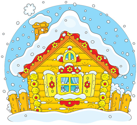 Rustic log house covered with snow on Christmas Stock Vector - 28042605