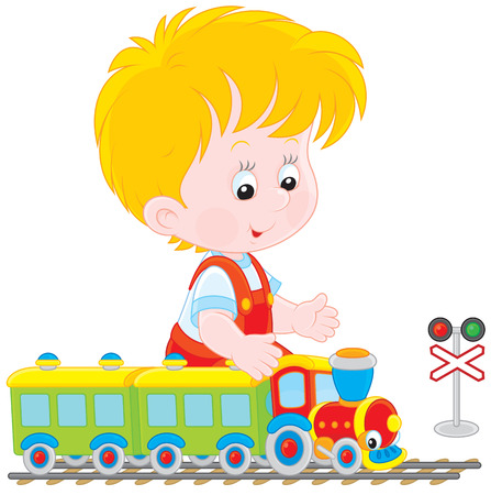 the infancy: Child playing with a train