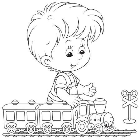 tren caricatura: Niño jugando con un tren
