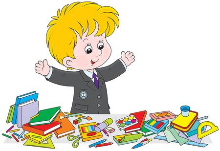 schooldays: Schoolboy preparing for school
