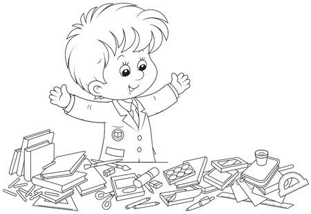 former years: Schoolboy preparing for school