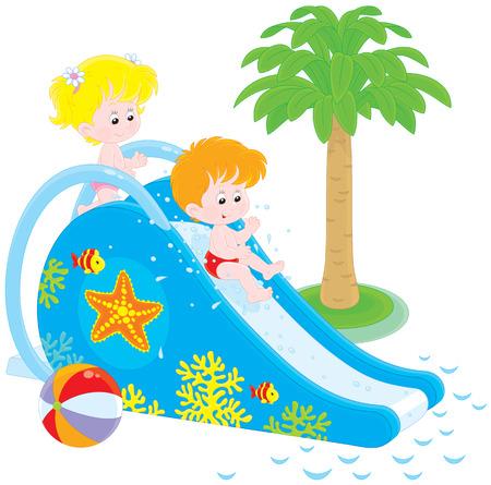 water slide: Children on a waterslide
