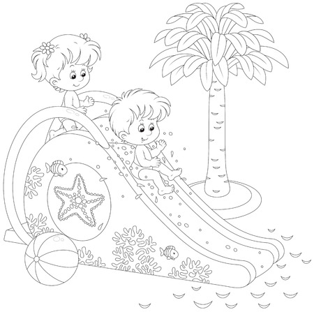 Children on a waterslide Vector