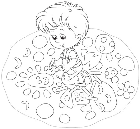 child drawing with chalk vector