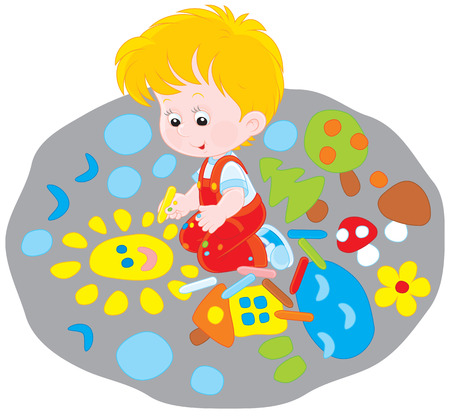 Little boy drawing with chalk on the pavement Vector