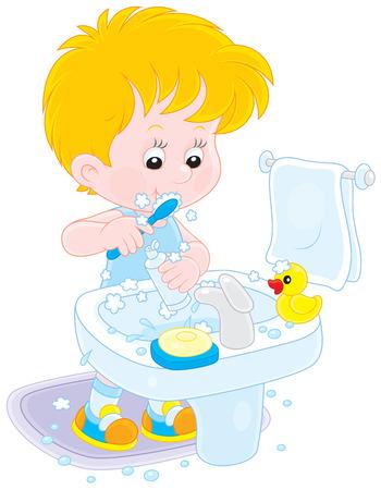 Child brushing his teeth Vector