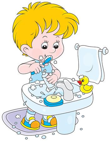 dientes caricatura: Ni�o peque�o que limpia sus dientes en el ba�o