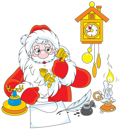 grandfather clock: Father Christmas talking on his old phone