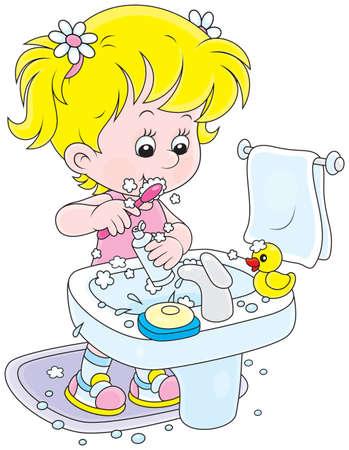 preescolar: Niño cepillarse los dientes