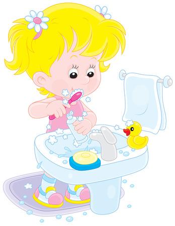 Little girl cleaning teeth in a bathroom Vector