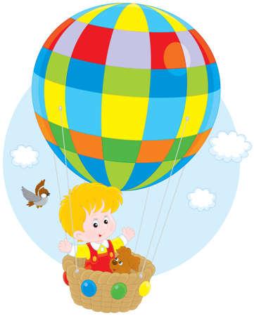 kiddy: Child flying on a balloon Illustration