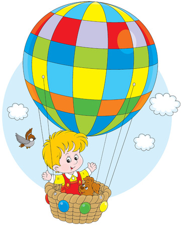 ballooning: Little boy travelling with his pup on a balloon