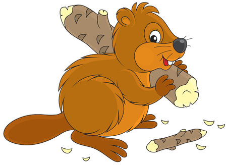 gnawer: Funny river beaver carrying a small log