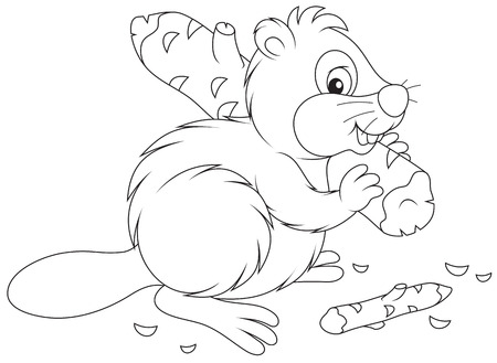Beaver with a log Vector