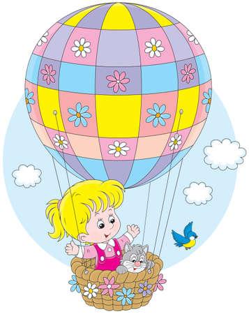 balloon girl: Little girl travelling on an air balloon