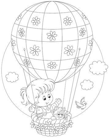 Child flying on a balloon Vector