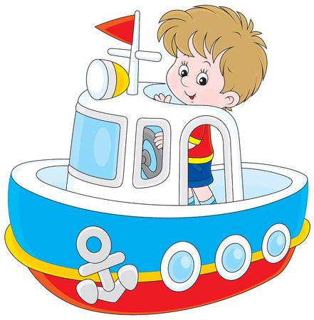 infant school: Little boy playing on a big toy ship