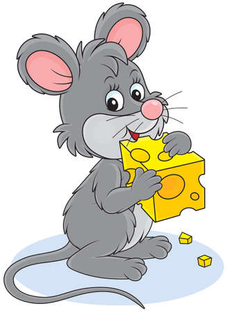 house mouse: Mouse and cheese Illustration