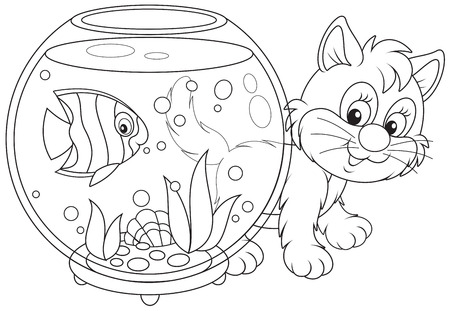 outlined isolated: Kitten playing with a fish